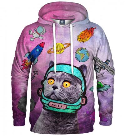 różowa bluza z motywem kota w kosmosie