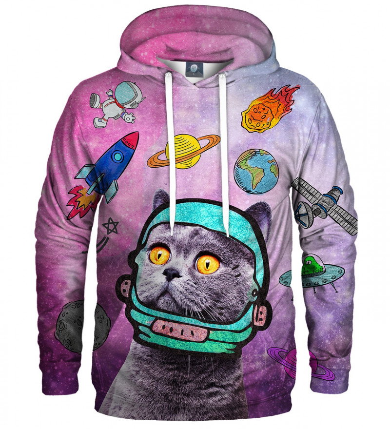 pink hoodie with space cat motive