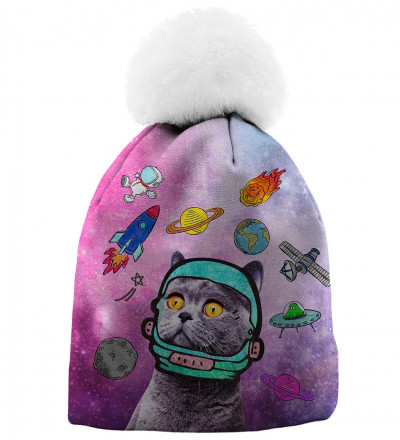 printed beanie with space cat motive