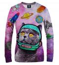 różowa damska bluza z motywem kota w kosmosie