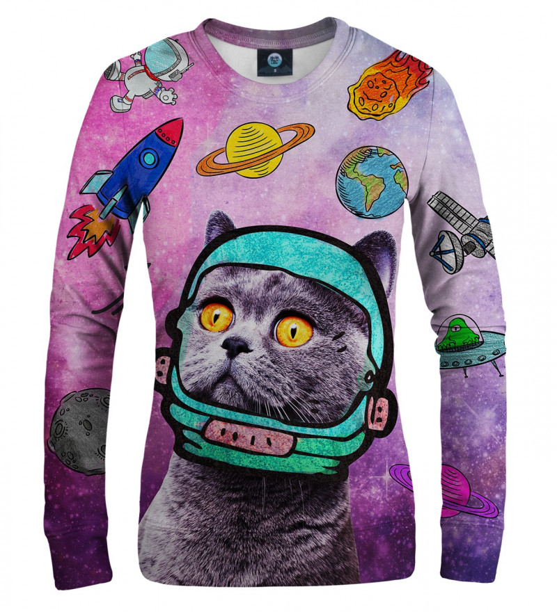 pink women sweatshirt with space cat motive
