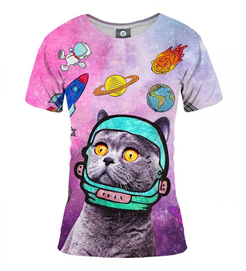 różowa koszulka damska z motywem kota w kosmosie