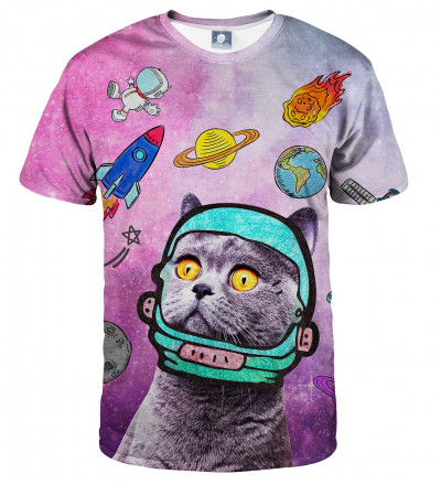 pink tshirt with space cat motive