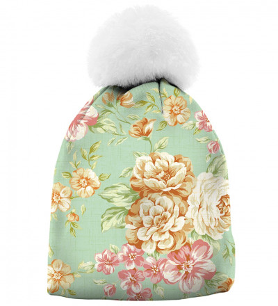printed beanie with flowers motive