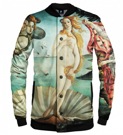 "baseball jacket with ""birth of venus"" motive"