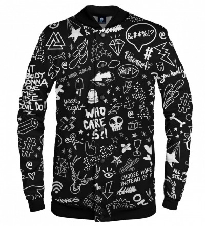 black baseball jacket with doodle motive