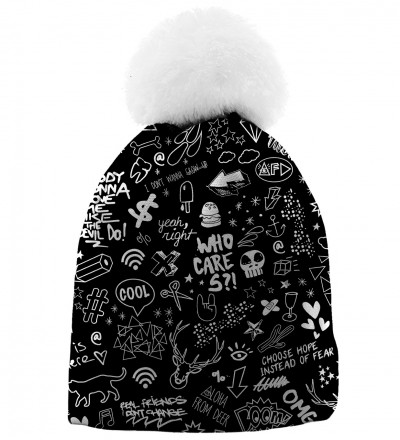 printed beanie with doodle motive