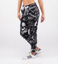 black sweatpants with doodle motive