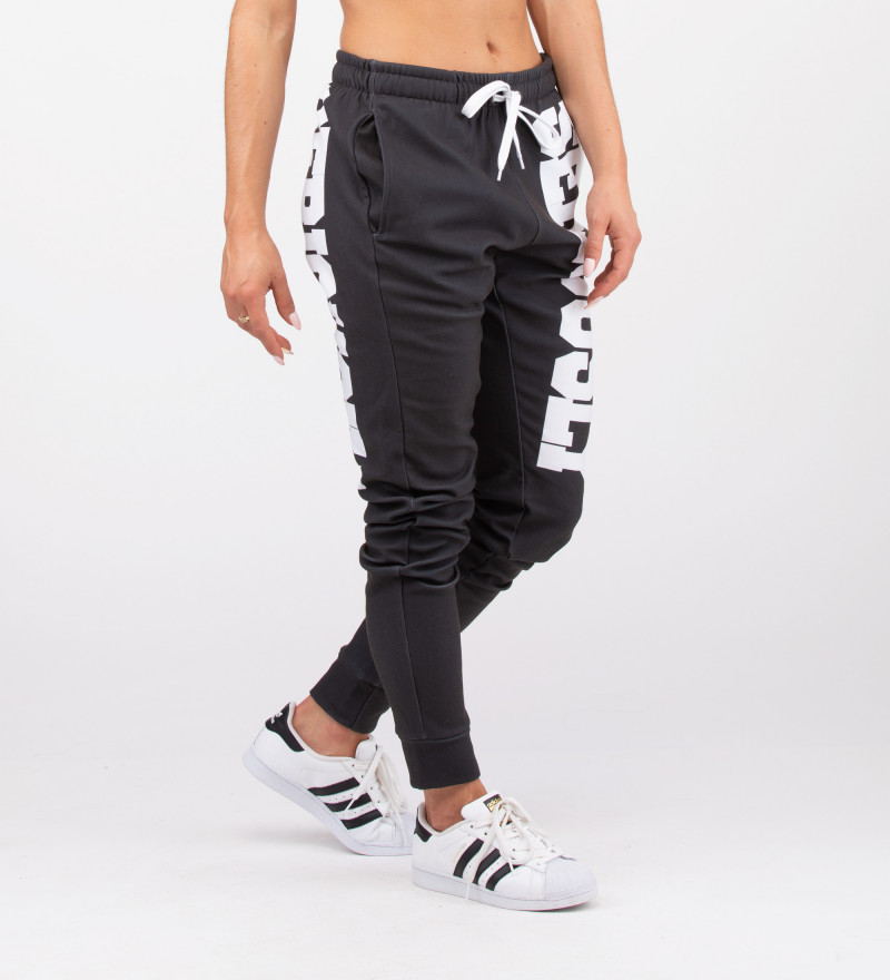 black sweatpants with seriously inscription