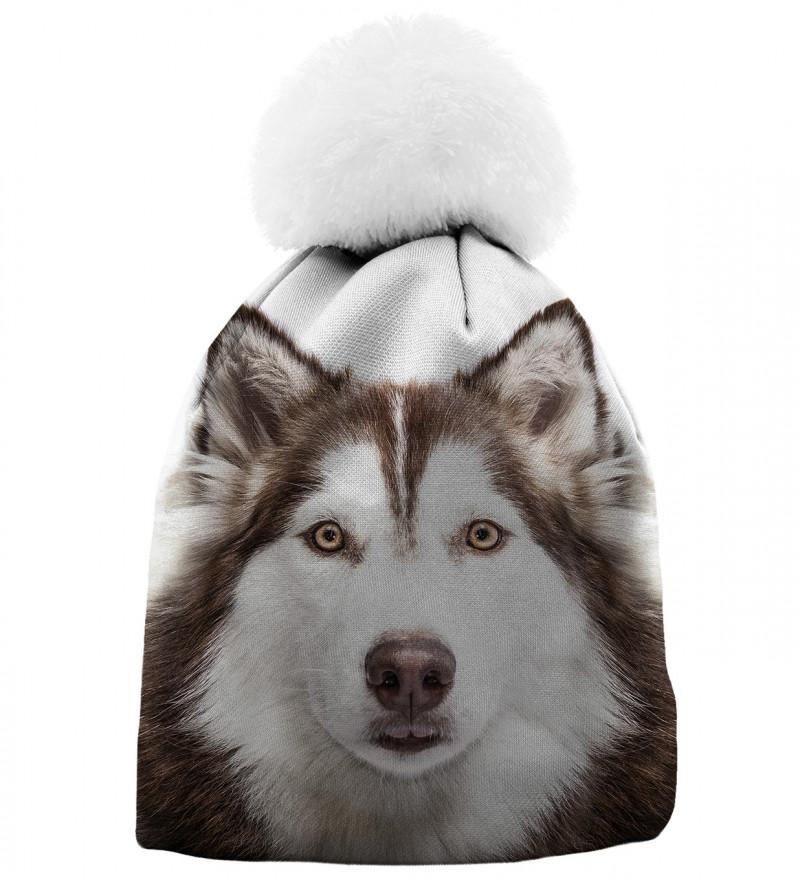 czapka z motywem psa husky