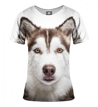 women tshirt with husky motive