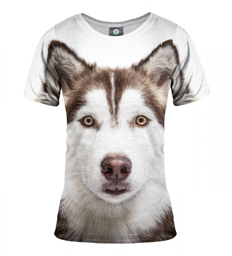 women tshirt with husky motive