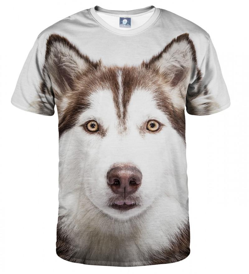 koszulka z motywem psa husky
