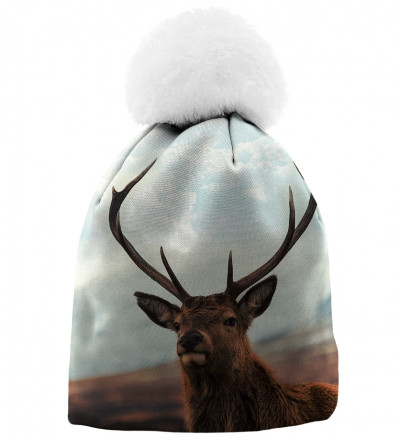 printed beanie with deer motive