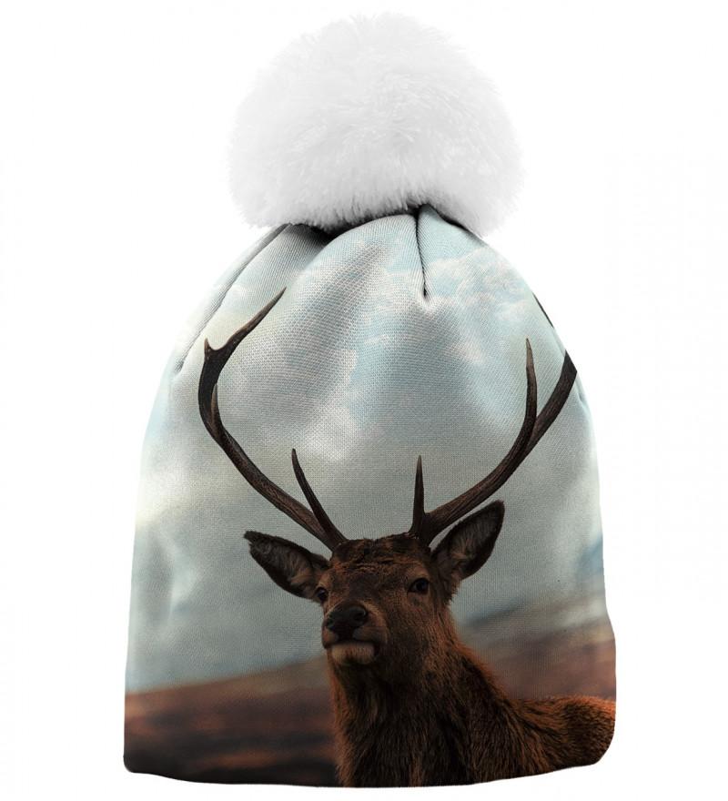 printed beanie with deer motive