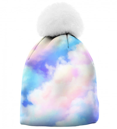 printed beanie with colorful clouds motive