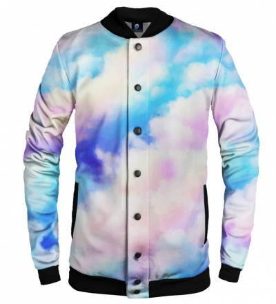 baseball jacket with colorful clouds