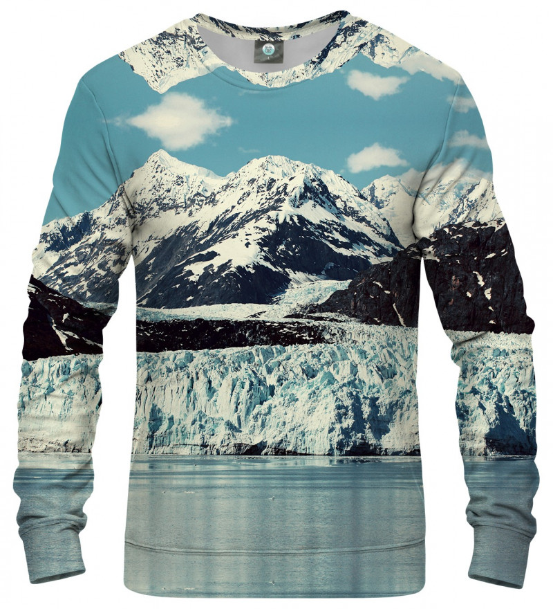 sweatshirt with snowy mountains motive