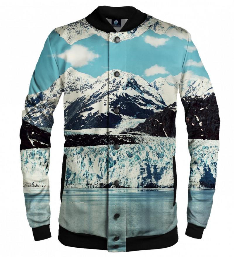 baseball jacket with snowy mountains motive