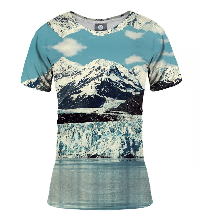 damska koszulka z motywem gór zimą