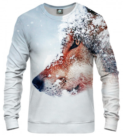 sweatshirt with snowy wolf motive