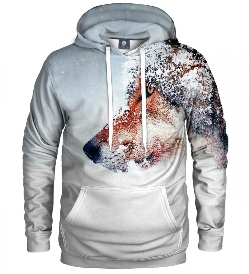 hoodie with snowy wolf motive