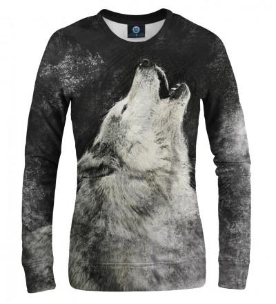 women sweatshirt with wolf motive