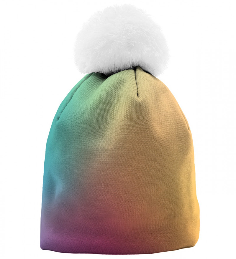 beanie with colorful ombre motive