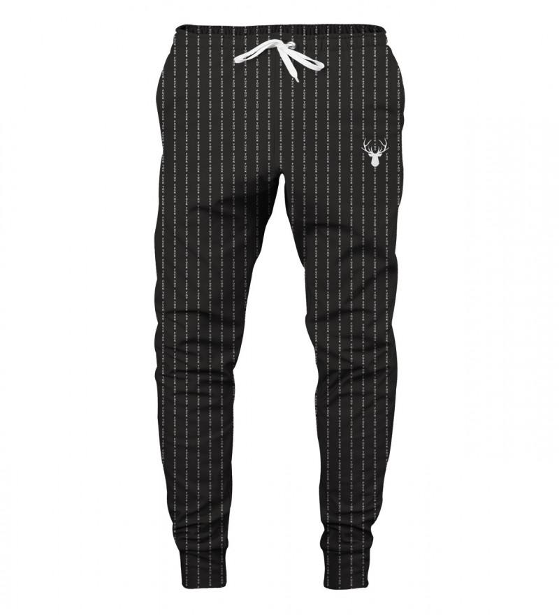 czarne spodnie z napisem fk you