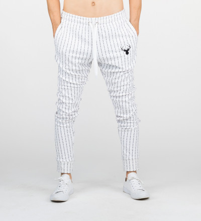 white sweatpants with fk you inscription