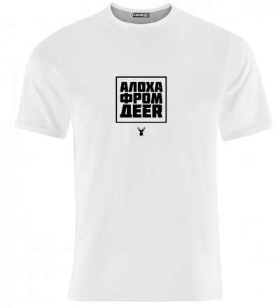 white women tshirt with aloha from deer inscription