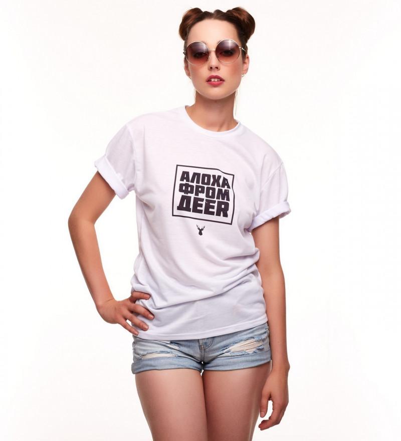 damska biała koszulka z napisem aloha from deer