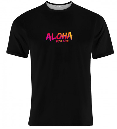 black tshirt with aloha from deer inscription