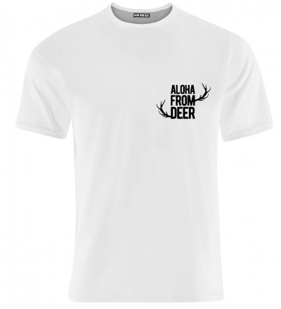 white tshirt with aloha from deer motive