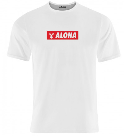 white women tshirt with aloha inscription