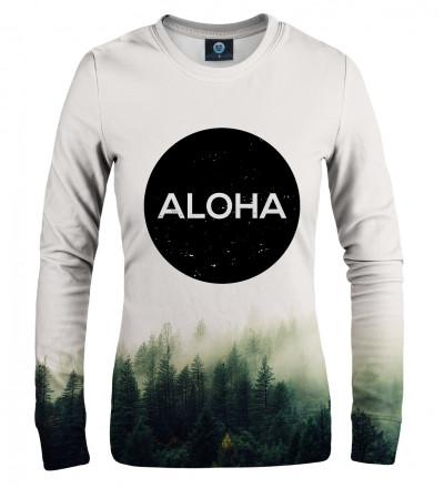 biała damska bluza z napisem aloha