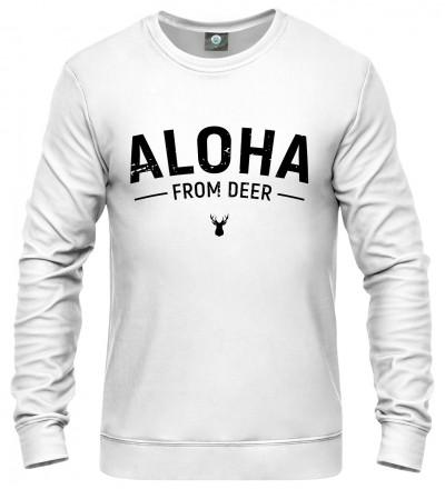 biała bluza z napisem aloha from deer