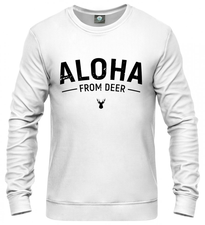 white sweatshirt with aloha from deer inscription