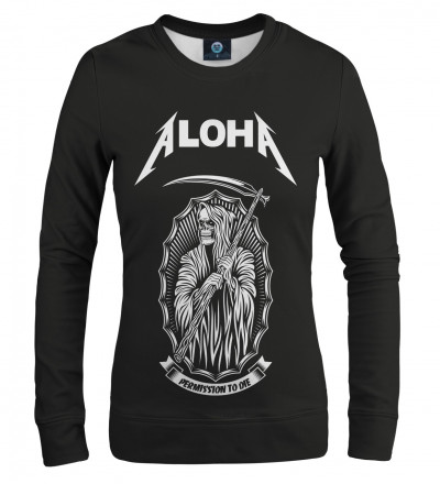 black sweatshirt with aloha inscription