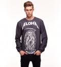 black sweatshirt with aloha inscription