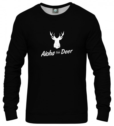 black sweatshirt with aloha from deer inscription