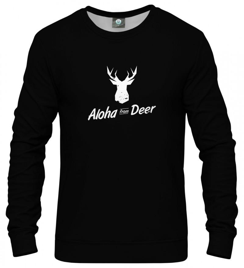 black sweatshirt with aloha from deer inscription