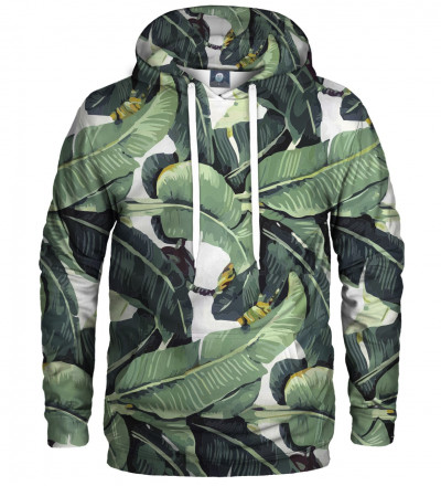 hoodie with green leaves motive