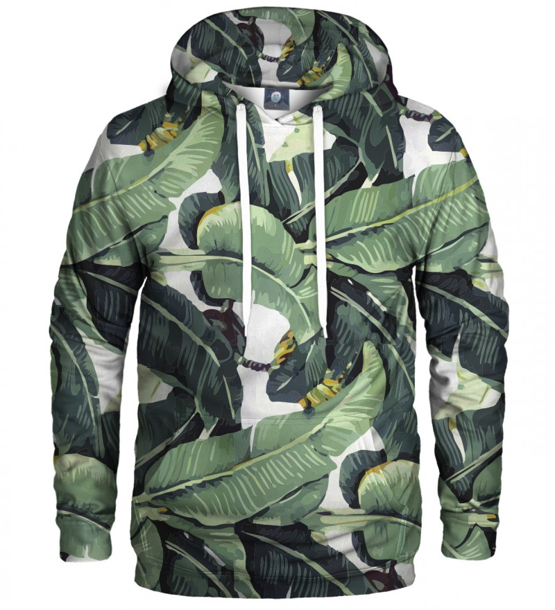 bluza z kapturem z motywem zielonych liści
