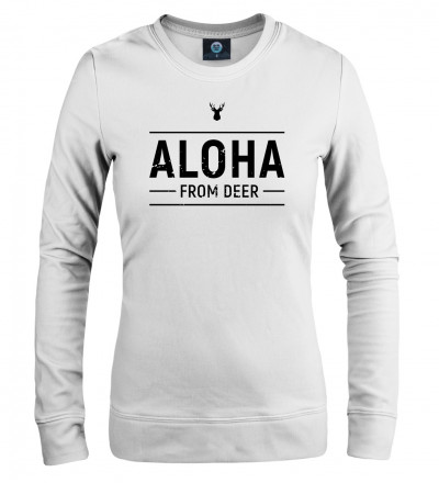 white women sweatshirt with aloha from deer inscription