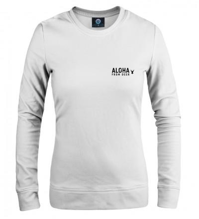 biała damska bluza z napisem aloha from deer