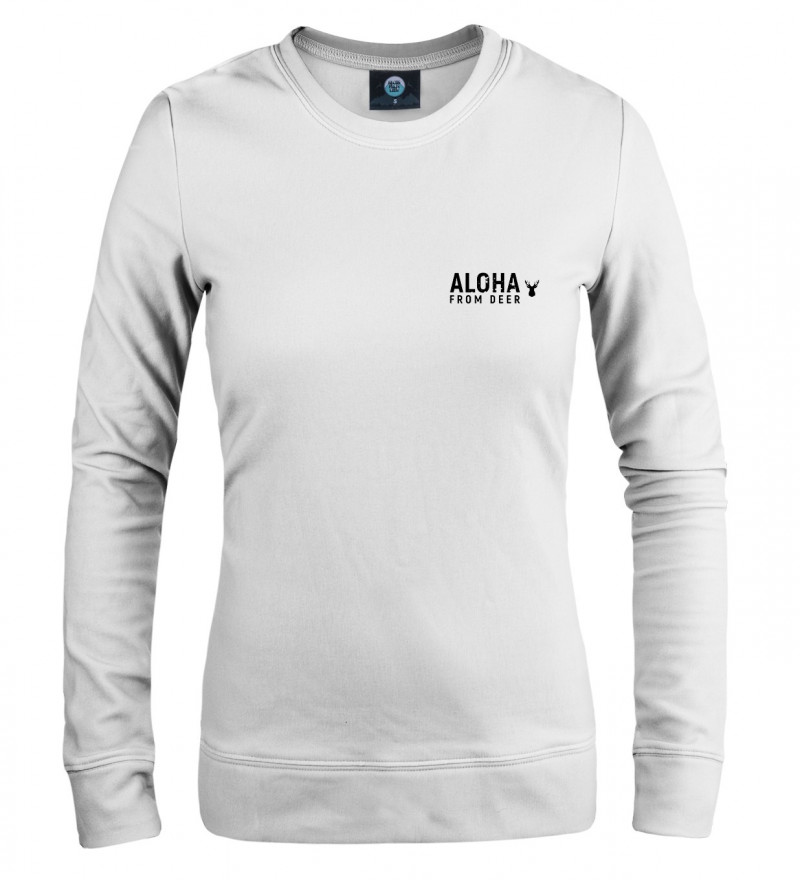 white women sweatshirt with aloha drom deer inscription