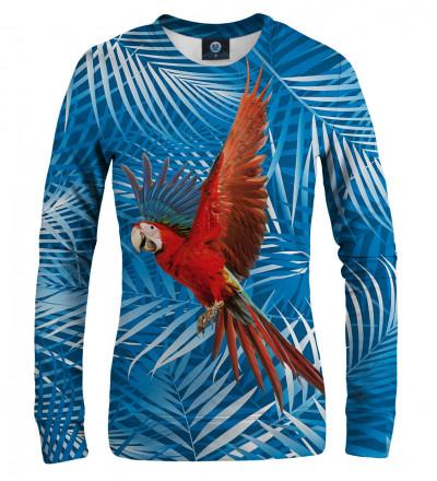 blue sweatshirt with parrot motive