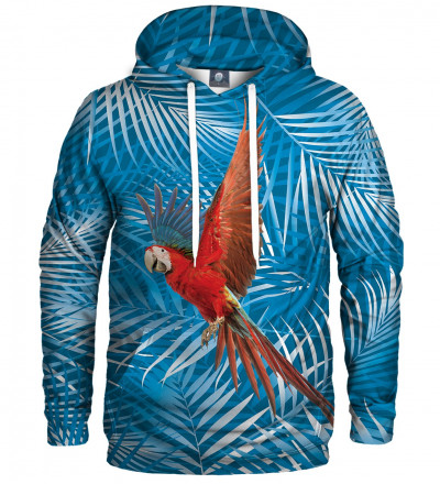 blue hoodie with parrot motive