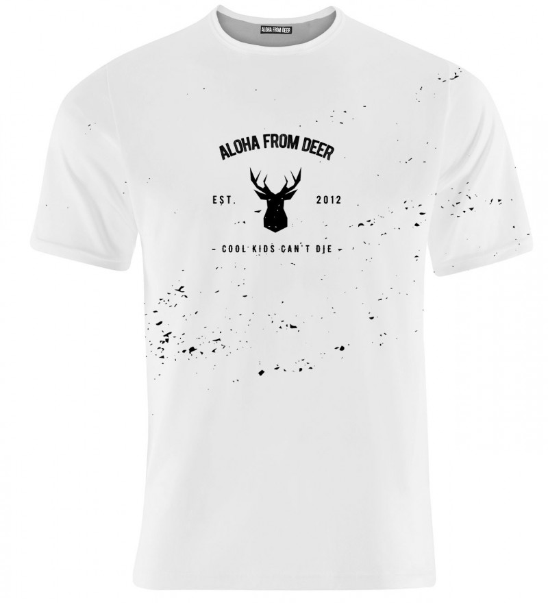 white tshirt with aloha from deer inscritpion